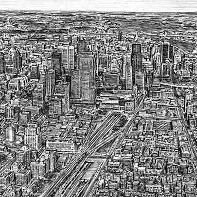 Aerial view of Montreal, Canada - Drawings - Originals, prints and limited editions