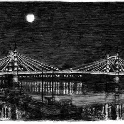 Drawing of Albert Bridge at night