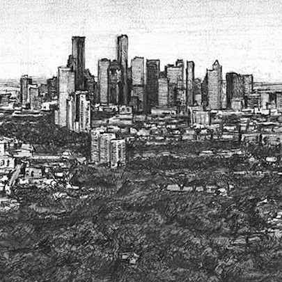 Aerial view of Downtow Houston Skyline - Drawings - Originals for sale