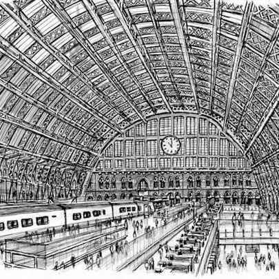Interior of St Pancras Station - Original drawings