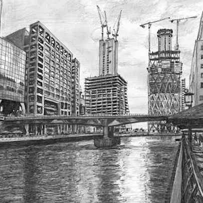 Drawing of Heron Quays at Canary Wharf, London
