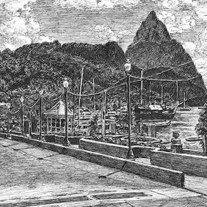 Soufriere, St Lucia - Drawings - Originals, prints and limited editions