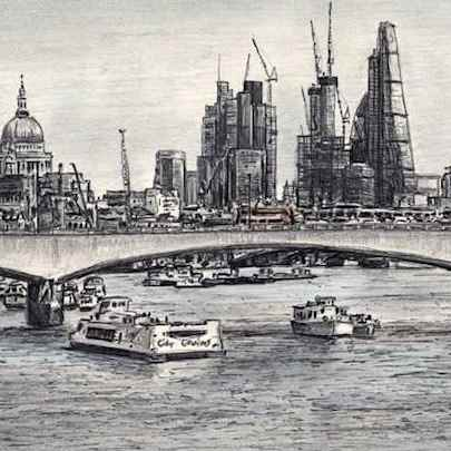 View of London skyline from Waterloo Bridge - Drawings - Originals, prints and limited editions