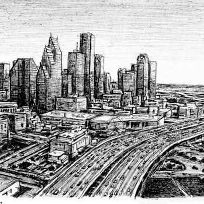 Downtown Houston, Texas - Original Drawings