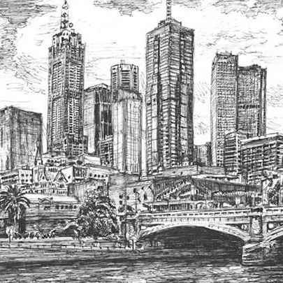 Melbourne Skyline - Drawings - Originals, prints and limited editions