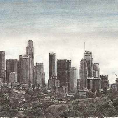 Drawing of Downtown Los Angeles Skyline