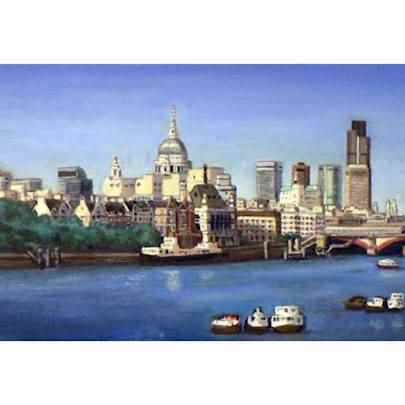 London Skyline - oil on canvas - Original drawings