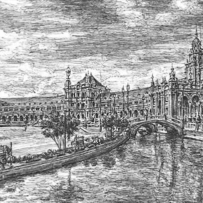 Seville - Drawings - Originals, prints and limited editions
