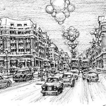 Regent Street at Christmas - Original drawings
