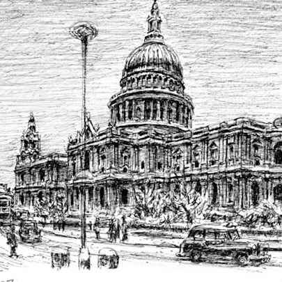 St Pauls Cathedral in snow - Original drawings