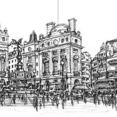 Memory sketch of Piccadilly Circus - Original drawings