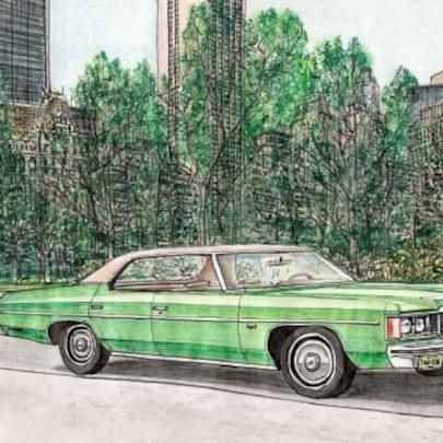 1974 Chevy Impala - Drawings - Originals, prints and limited editions