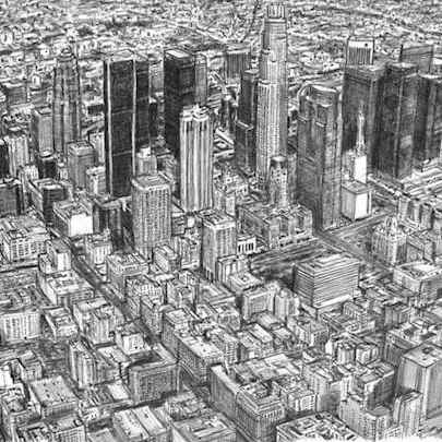 Aerial view of Los Angeles Skyline - Original drawings