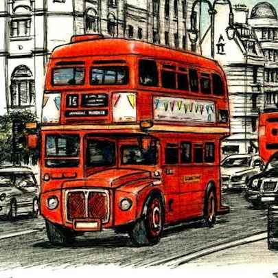 London Routemaster Bus at the Strand - Original drawings