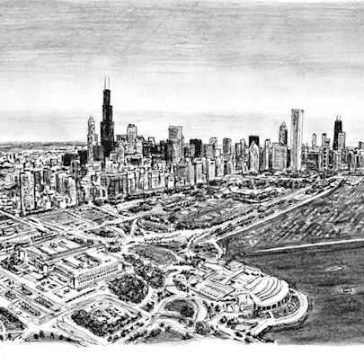 Aerial view of Chicago - Original drawings