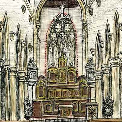 Interior of St Mary of the Angels Church in Notting Hill - Original drawings