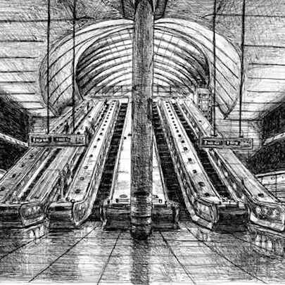 Canary Wharf Tube Station - Drawings - Originals, prints and limited editions