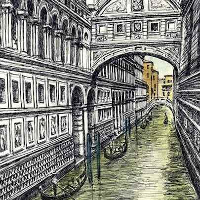 Bridge of Sighs in Venice - Original drawings