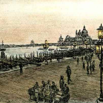 View of Venice at dawn - Drawings - Originals, prints and limited editions