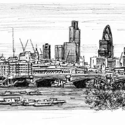 View of London from Waterloo Bridge - Original drawings