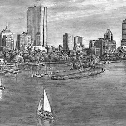 Boston Skyline - Original drawings