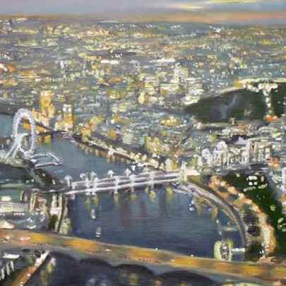 Aerial view of London - oil on board - Paintings - Originals, prints and limited editions