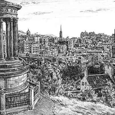 View of Edinburgh from Calton Hill - Original drawings