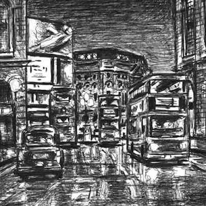 Evening on Regent Street - Original drawings