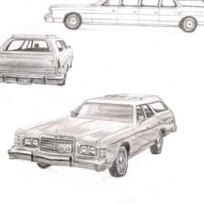 1975-78 Ford LTD Station Wagon - Original drawings and Architectural Art