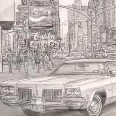 Drawing of 1971 Oldsmobile Delta 88 Royale 4 door Hard Top