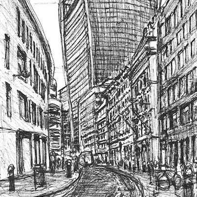 View of 20 Fenchurch Street (Walkie Talkie) - Drawings - Originals, prints and limited editions