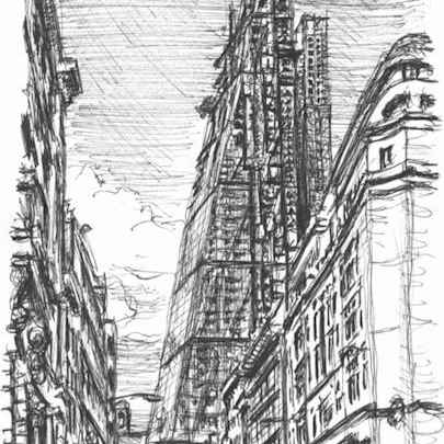 Leadenhall Building in construction - Drawings - Original drawings and Architectural Art