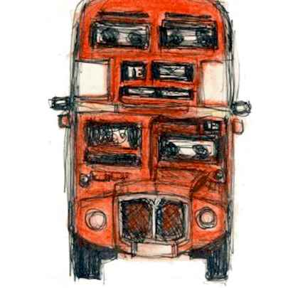 Front of London Double Decker - Drawings - Originals, prints and limited editions