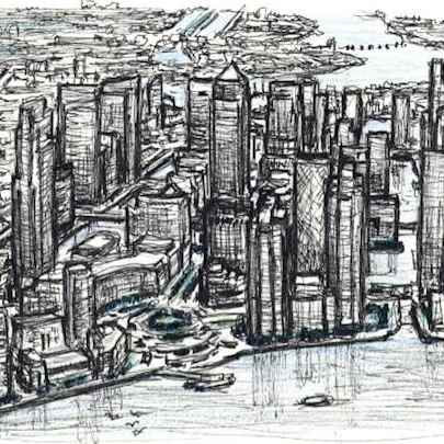 Aerial view of Canary Wharf in the future - Original Drawings
