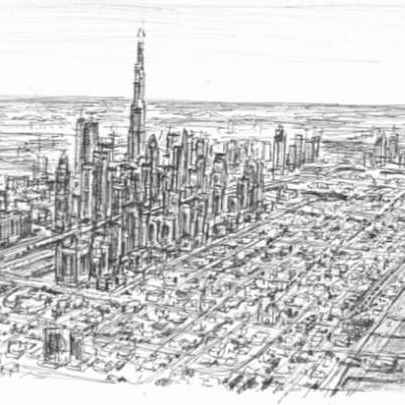 Aerial view of Dubai 2008 - Drawings - Originals, prints and limited editions