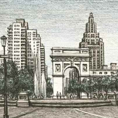 Washington Square Park - Drawings - Originals, prints and limited editions