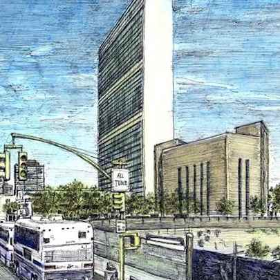 United Nations HQ, New York - Drawings - Originals, prints and limited editions