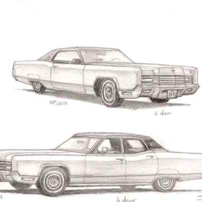 1970 Lincoln Continental - Drawings - Originals, prints and limited editions