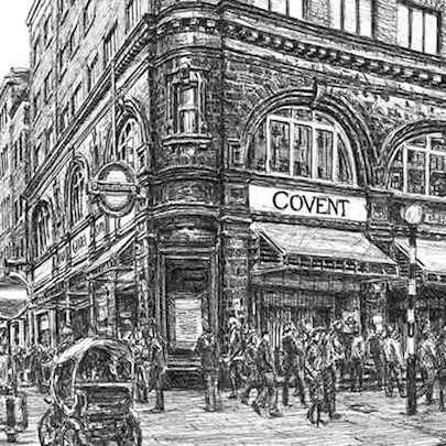 Drawing of Covent Garden station, London