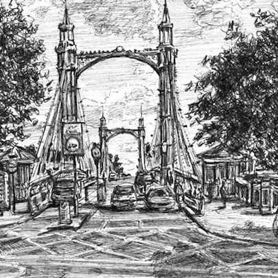 Drawing of Albert Bridge, London