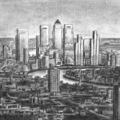 View of Canary Wharf - charcoal - Original drawings