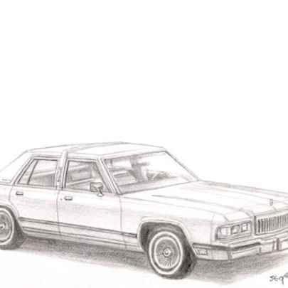 1988-90 Mercury Grand Marquis - Drawings - Originals, prints and limited editions