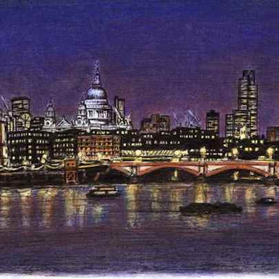 St Pauls and London Skyline at night - Original drawings