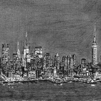 Manhattan Skyline at night - Original drawings