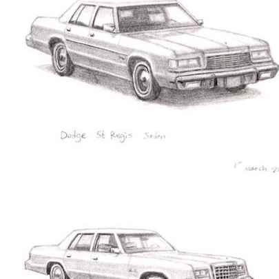 Dodge St Regis Sedan - Drawings - Originals, prints and limited editions