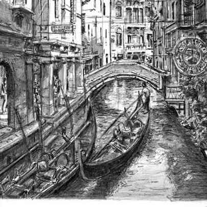 Two gondolas in Venice - Drawings - Gallery