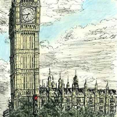 Big Ben in July 2009 - Original drawings