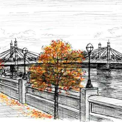 Albert Bridge - Drawings - Originals, prints and limited editions