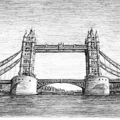 Tower Bridge in April 2008 - Drawings - Originals, prints and limited editions
