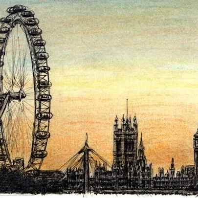 Drawing of London Eye and Houses of Parliament